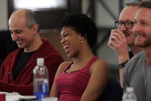 Rehearsal photo of DeRosa, Scott, Howes and Harris, all mentioned in this piece. From the Goodspeed site, by Diane Sobolewski