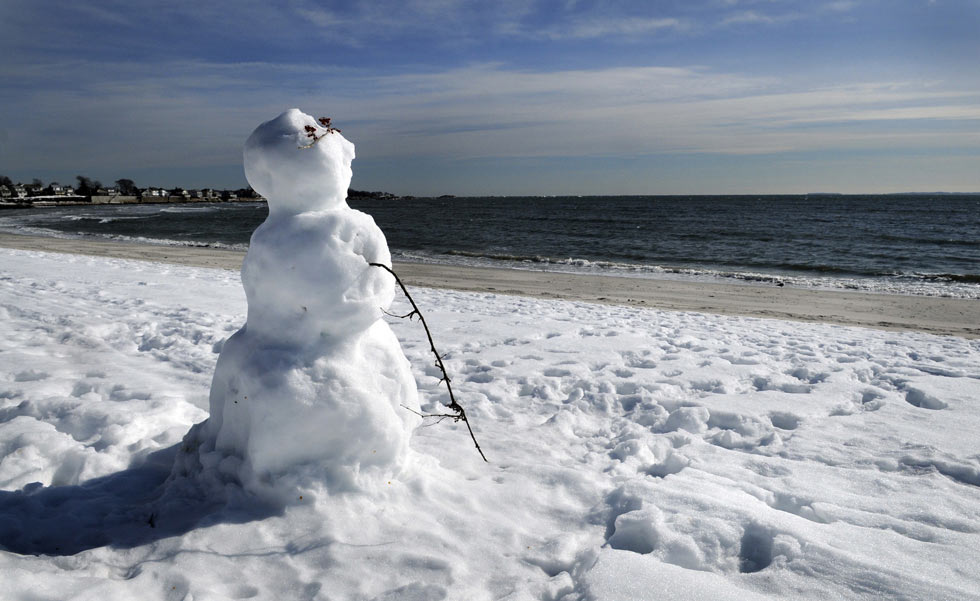 The winter of 2011 has been so severe that there was even snow on the beach at Rocky Neck State Park.