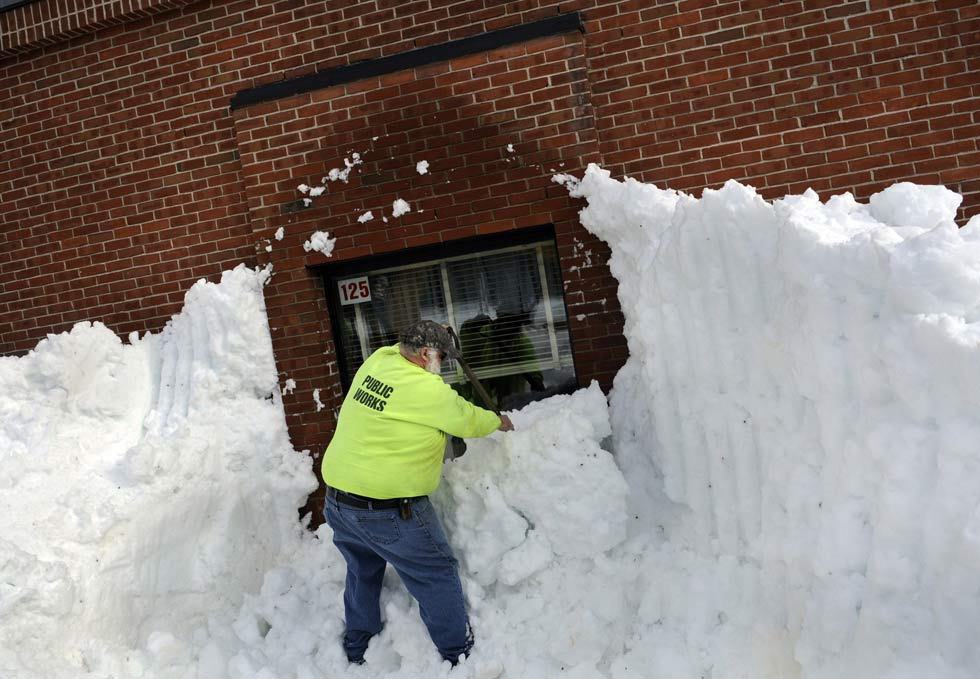 School was cancelled once again in Tolland last winter as town crews worked with bucket loaders and shovels to clear the entrances and fire exits of the Tolland Intermediate School. Some drifts were as high as the second floor of the building completely obscuring the exit doors and windows.