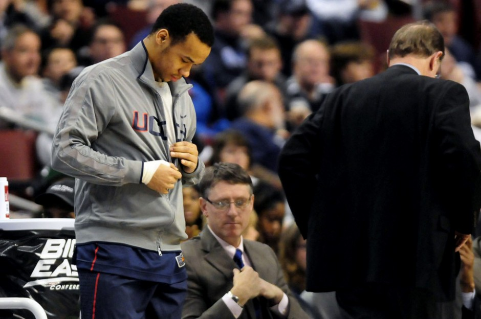 It started out doubtful that UConn's Shabazz Napier would play in Thursday's game but within minutes of the first half, Coach Blaney had him taking off his warm-ups to head into the Huskies' 73-70 overtime win over Villanova at the Wells Fargo Arena in Philadelphia. Napier had a strained ligament in his right foot but ended up sinking a buzzer-beating three in OT to win the game.