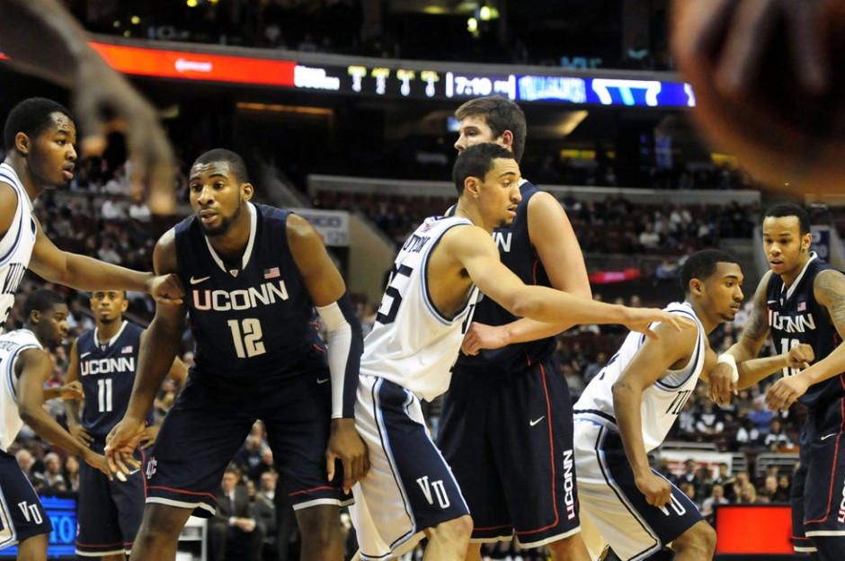 UConn waits for an inbounds pass during the first half.