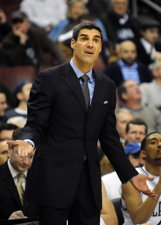 Villanova head coach Jay Wright argues a call in the first half.