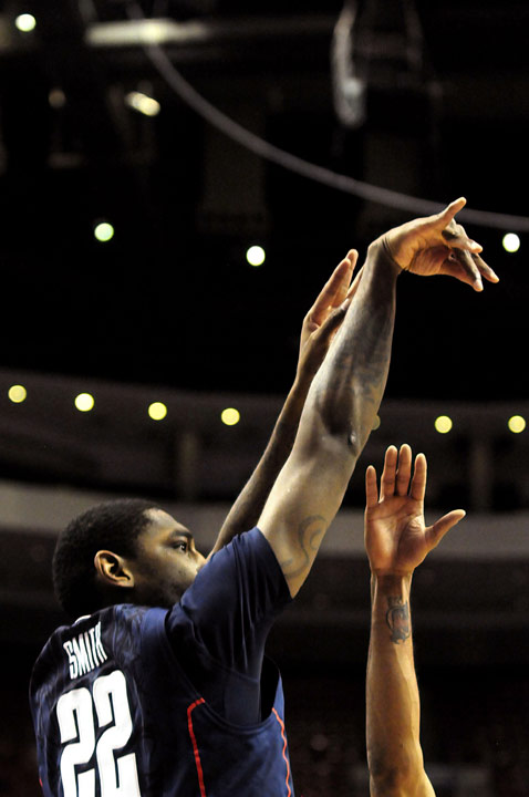 UConn's Roscoe Smith shoots during the Huskies' 73-70 overtime win over Villanova at the Wells Fargo Arena in Philadelphia. Smith started and played an unusual 40 minutes in the game, contributing strong defense.