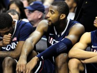 UConn&#039;s Roscoe Smith, Andre Drummond and Jeremy Lamb watch the Huskies slip behind again in the second half.