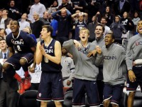UConn&#039;s bench goes crazy for Alex Oriakhi&#039;s shot against Villanova that tied the game at 60 with 23 seconds left.
