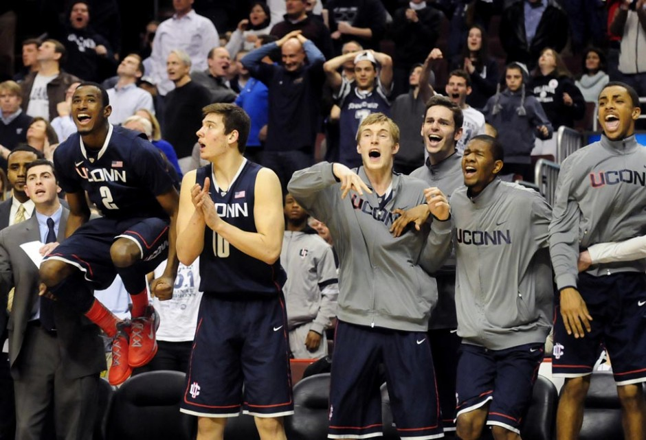 UConn's bench goes crazy for Alex Oriakhi's shot against Villanova that tied the game at 60 with 23 seconds left.