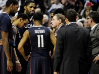 UConn's George Blaney took the reins again for Jim Calhoun and led the Huskies to a 73-70 win over Villanova in OT.