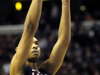 UConn&#039;s Jeremy Lamb shoots a free throw as he scores 10 points in OT during the Huskies&#039; 73-70 win over Villanova.