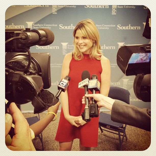 Jenna Bush Hager talks to media before SCSU graduation #jennabush