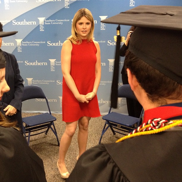 Jenna Bush Hager talks to SCSU Journalism majors before graduation