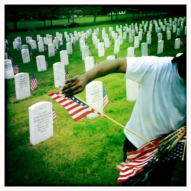 Planting Flags - Ct State Veterans Cemetary