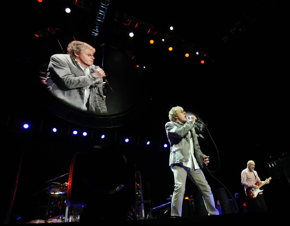 The Who brought their Quadrophenia tour to the Mohegan Sun Arena Sunday night. Roger Daltrey, singing lead in photo,  and Pete Townshend are from the original band.