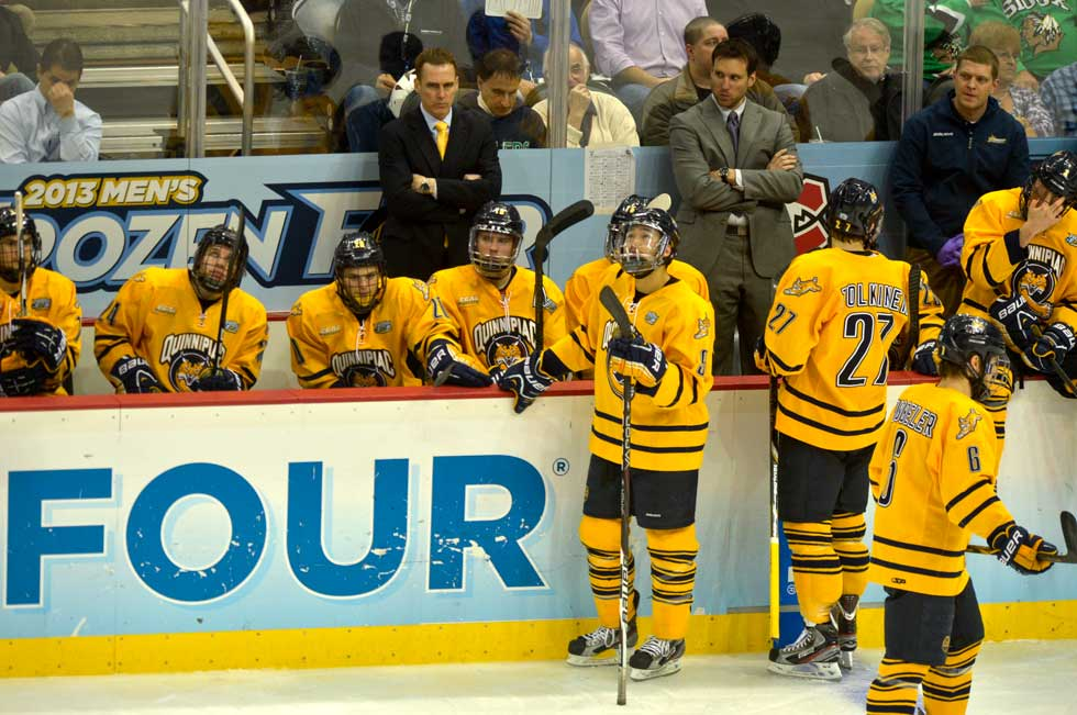 Yale goes up 2-0 on Quinnipiac at 16:25 in the third period.