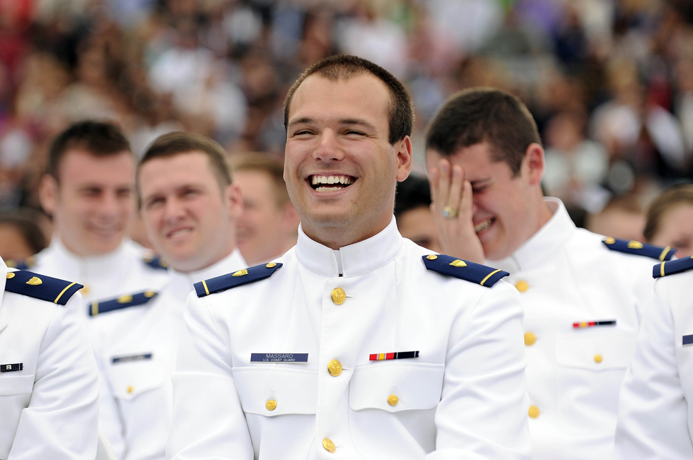 2013.05.22 - New London, CT - Cadet Michael Massaro cracks up at a joke that Vice President Joe Biden made during the commencement address.