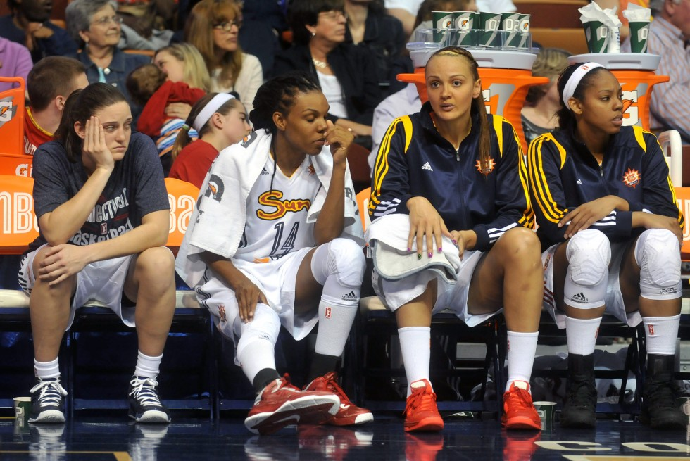 Connecticut Sun rookie Kelly Faris is not accustomed to spending much time on the bench.  She played 7 minutes against New York Liberty in the Sun season opener at Mohegan Sun Arena Saturday night. Photo by BRAD HORRIGAN | bhorrigan@courant.com