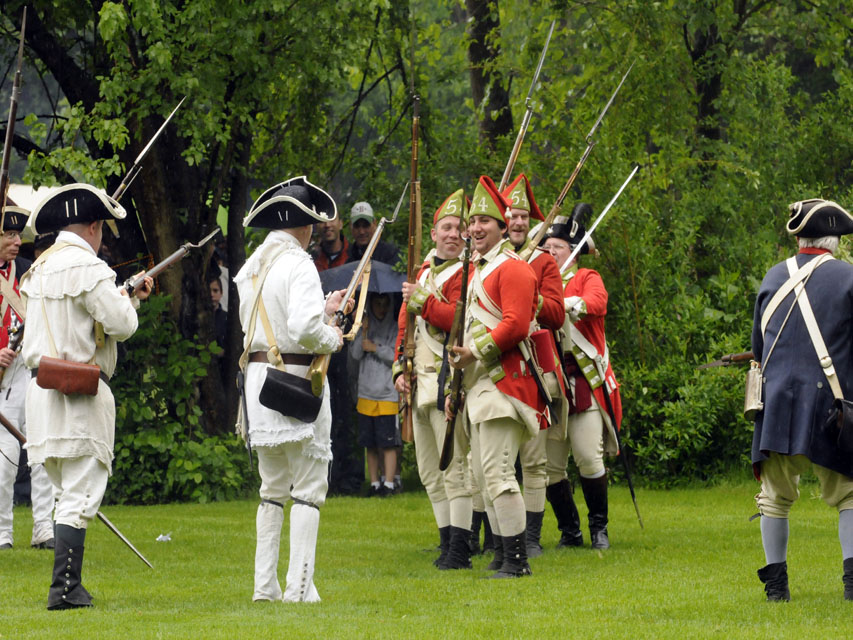 The British are surrounded at the Webb-Dean-Stevens Revolutionary War Encampment Saturday in Old Wethersfield. T