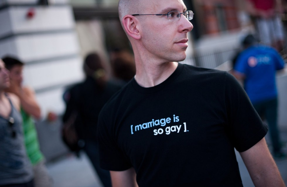 "A man wears a T-shirt reading ""Marriage is so gay"" during the 2013 Capital Pride parade in Washington on June 8, 2013. This year is the 38th such annual gay pride parade to take place in the US capital.   NICHOLAS KAMM/AFP/Getty Images"