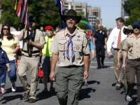 Members of the Boys Scouts of America march in a gay pride parade in Salt Lake City, Utah, June 2, 2013. Both active Mormons and members of the Boy Scouts marched with members of LGBT community and their supporters as part of the Utah Pride Festival. REUTERS/Jim Urquhart