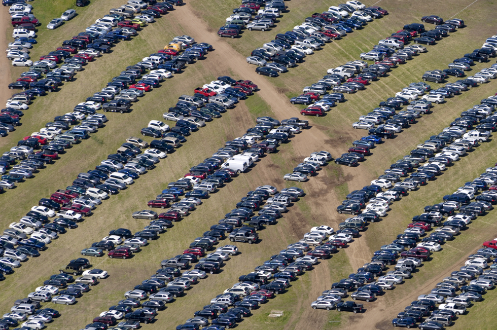 The parking lot at TPC River Highlands as seen from the MetLife blimp in Cromwell. PATRICK RAYCRAFT|praycraft@courant.com