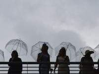 Racegoers hold umbrellas during a rain shower on the fourth day of the Royal Ascot horse racing REUTERS/Toby Melville