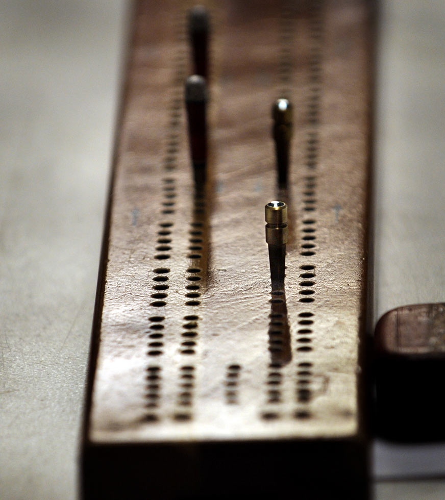 The cribbage board allows members of the Hartford Metro Cribbage Club to keep score during their weekly Monday night meetings at the East Hartford Moose Lodge.