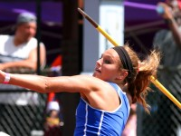 June 8, 2013: Megan Lester, a senior at Ledyard HS, during the javelin throw at the New England Track and Field Championships. Stan Godlewski/Special to the Courant