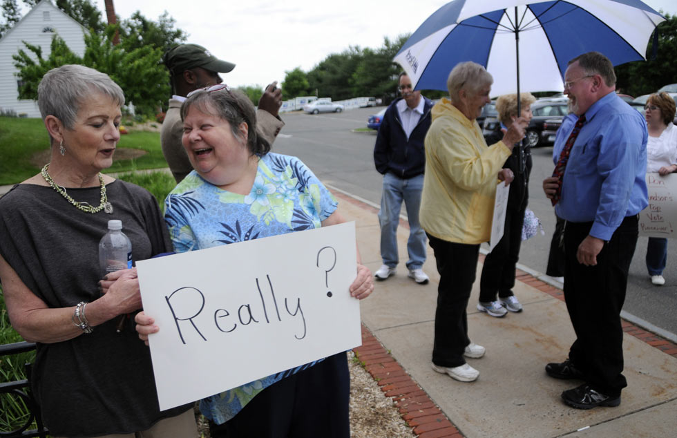 Supporters of Mayor Donald Trinks held a rally for him before the Democratic Town Committee meeting Thursday night. Trinks, the town council's top vote getter in the last six elections was surprisingly not endorsed for a seventh term on the council last week.