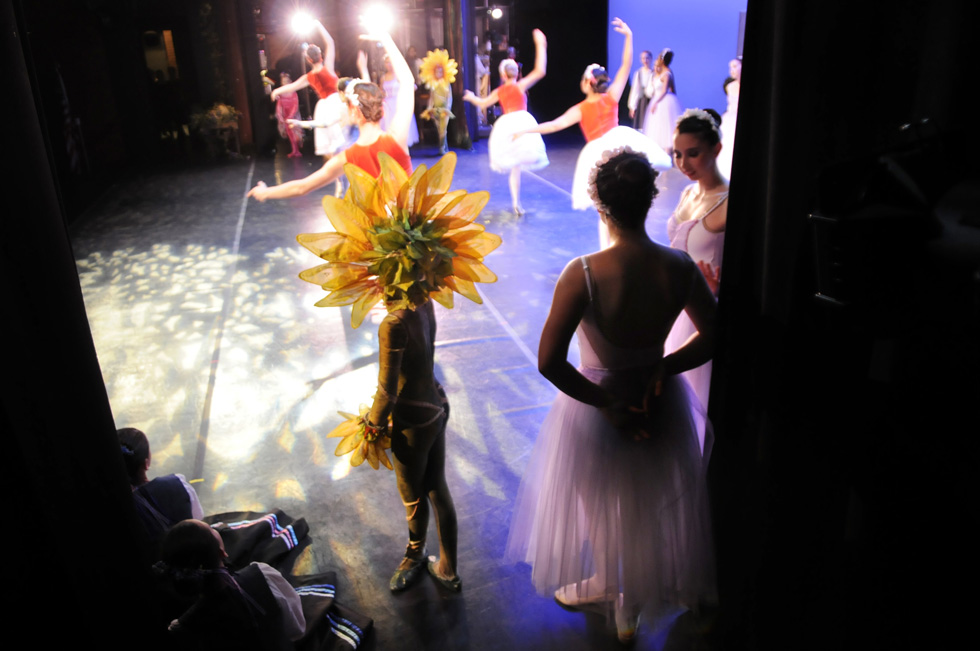 "The Hartt School of Music's Community Division is presenting the ballet, ""Snow White,"" which opens Friday and runs through Sunday. Dancers wait in the wings during their final dress rehearsal in Millard Auditorium on the University of Hartford's campus. STEPHEN DUNN