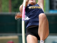 June 8, 2013: Emily Savage, of Weston High School, during the pole vault competition at the  New England Track and Field Championships. Stan Godlewski/Special to the Courant