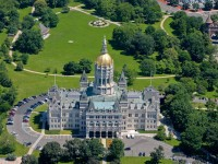This image of the Connecticut State Capitol taken from the MetLife blimp at about 1500 feet above the city also features Bushnell Park and the Soldiers and Sailors Memorial Arch (upper right).