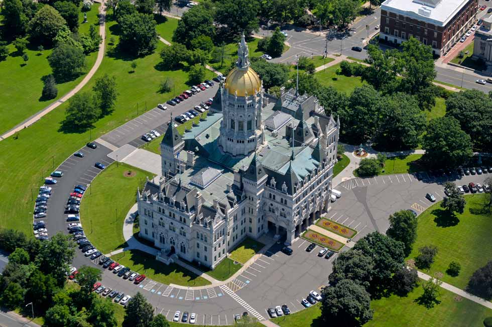 The Connecticut State Capitol was photographed from the MetLife blimp at an altitude of about 1500 feet on June 20, 2013.