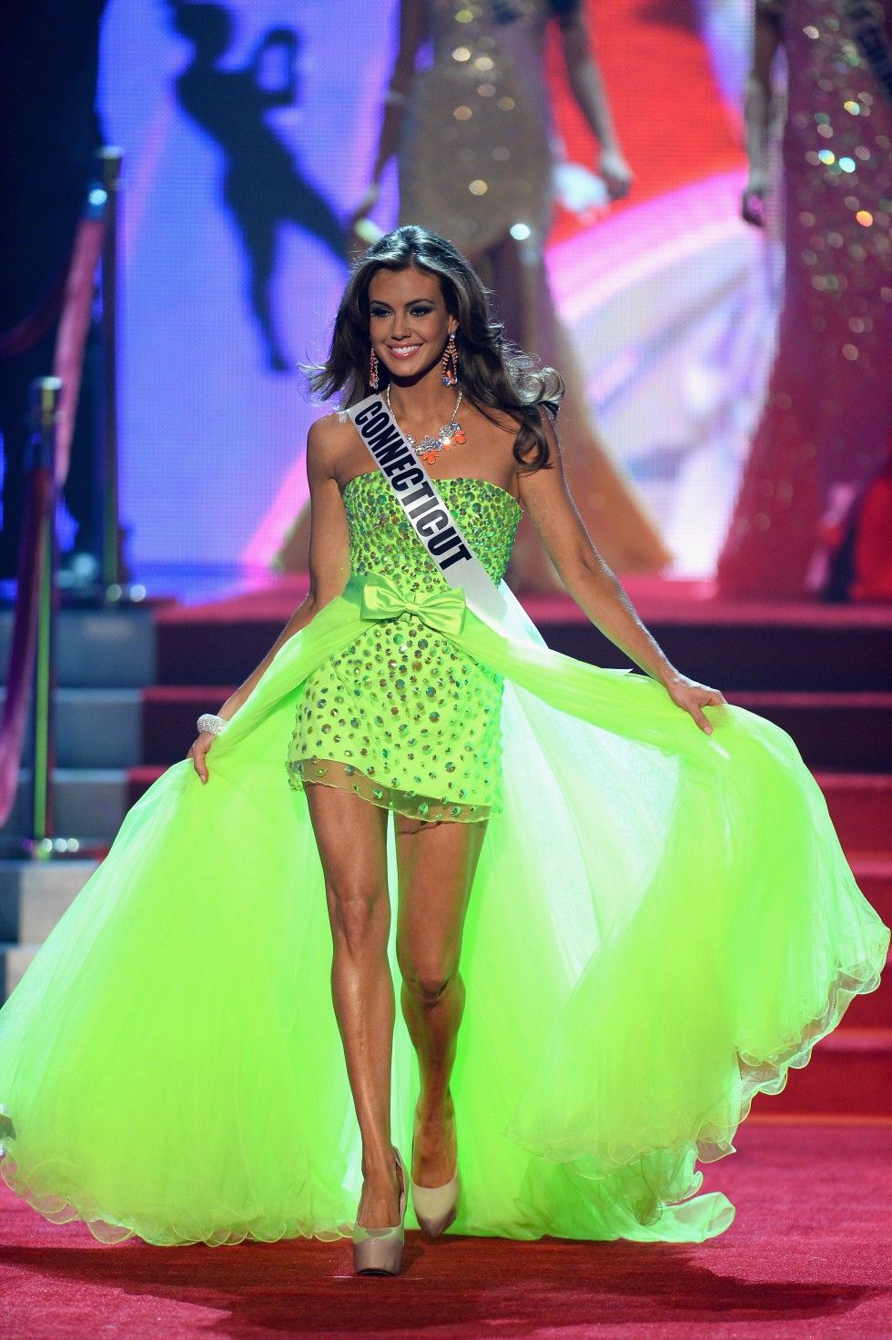 LAS VEGAS, NV - JUNE 16:  Miss Connecticut USA Erin Brady walks onstage during the 2013 Miss USA pageant at PH Live at Planet Hollywood Resort & Casino on June 16, 2013 in Las Vegas, Nevada.