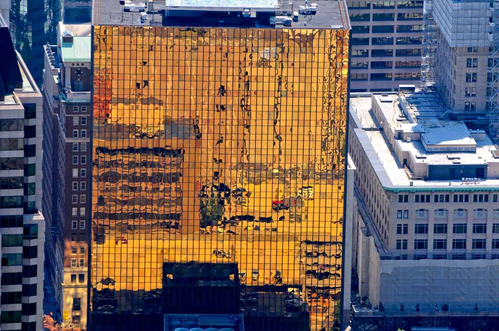 The Gold Building in downtown Hartford photographed from the MetLife blimp on Thursday afternoon.