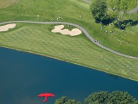 A view of the 17th fairway from the MetLife blimp captures first-round action at the Travelers Championship. The blimp provides video for the PGA tour and marketing for the nation's largest life insurer.  PATRICK RAYCRAFT|praycraft@courant.com