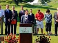 Gov. Dannel P. Malloy addresses the crowd at opening ceremonies for the 2013 Travelers Championship Monday morning at TPC River Highlands in Cromwell.