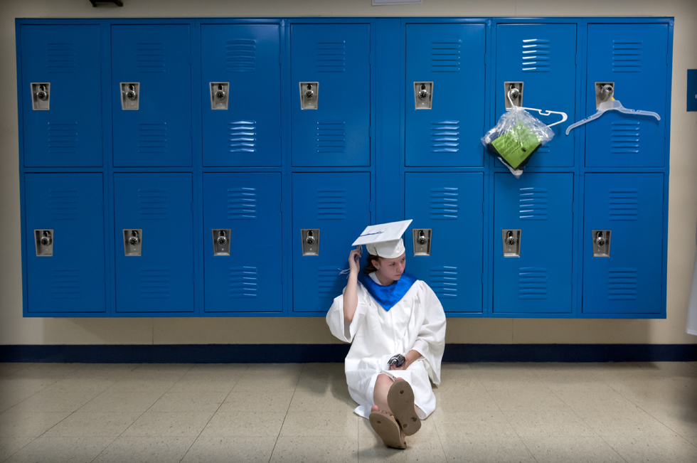 "2013.06.24 - West Hartford, CT - ""So much happened to change me as a person,"" says Grace O'Connor relaxing in a Hall High School corridor prior to the school's graduation ceremony.  Photograph by Mark Mirko 