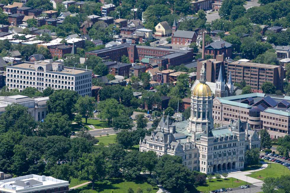 The State Capitol and the Frog Hollow neighborhood in Hartford as seen from the MetLife blimp in June 2013.