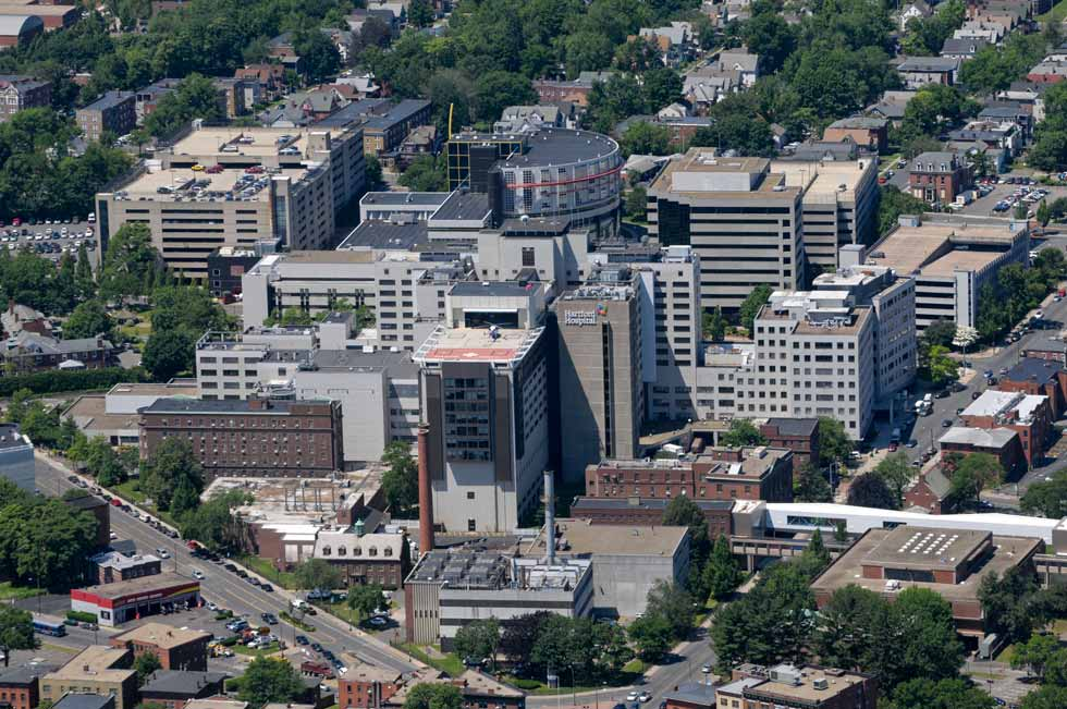 The Hartford Hospital complex including the Life Star helipads.