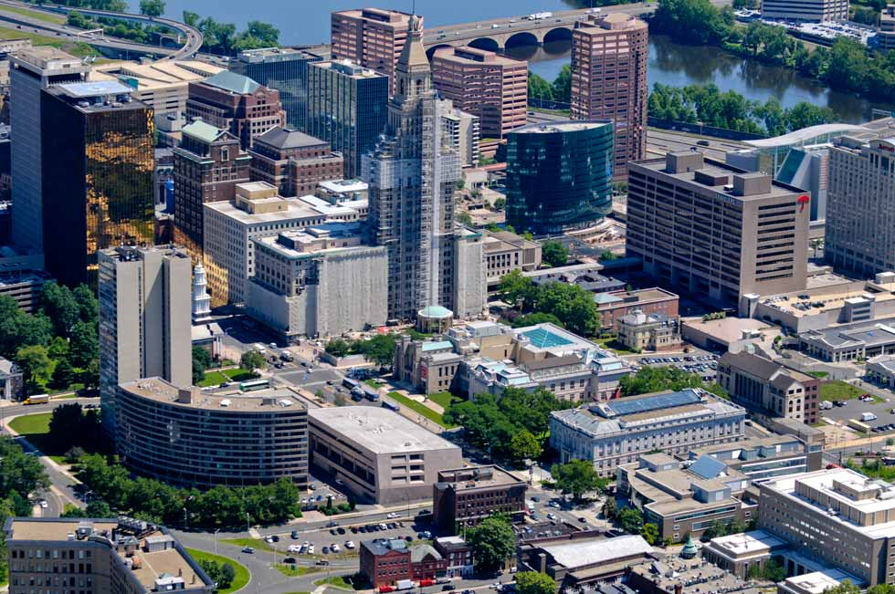 The Hartford skyline photographed from the MetLife blimp shows the downtown of the capital city. MetLife blimp provides video for the PGA tour and marketing for the nation's largest life insurer.