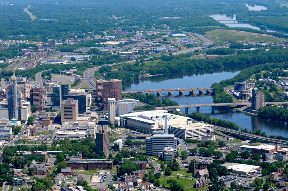 This view of the Hartford skyline was taken from above the southend of Hartford aboard the MetLife blimp.