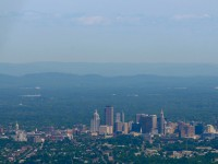 This is the Hartford skyline looking north from above Rocky Hill. The photograph was taken from the MetLife blimp.