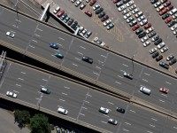 This is an aerial of I-84 in Hartford taken from the MetLife blimp on Thursday afternoon on June 20, 2013.