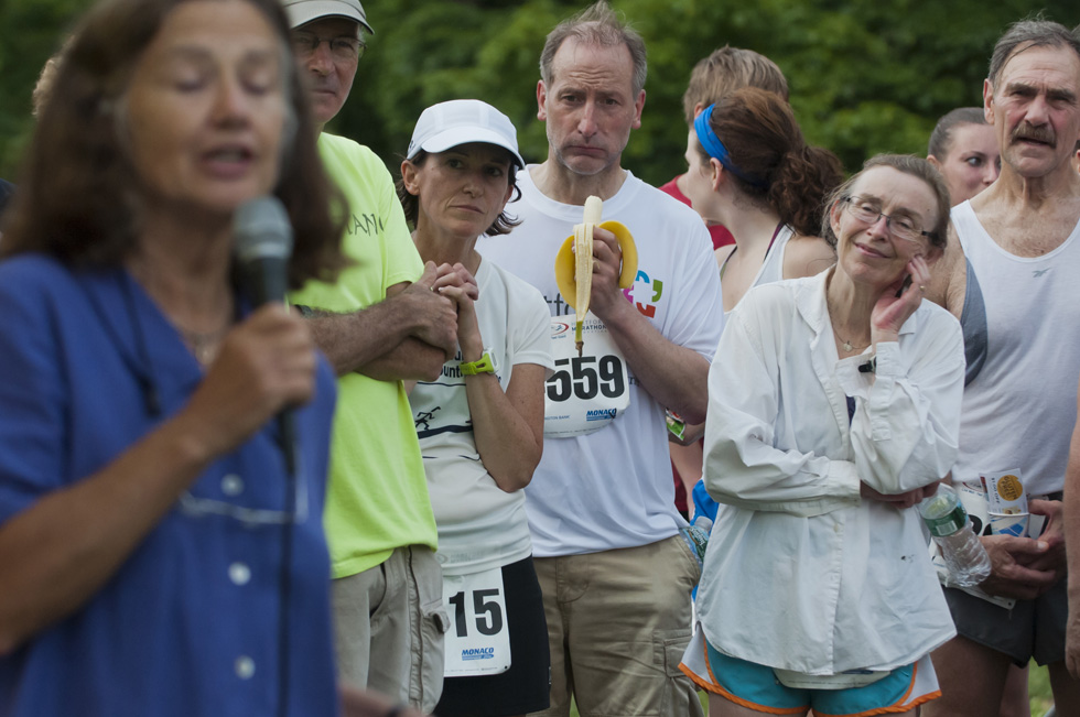 2013.06.30 - Middletown, CT - Runners listen to Julia Chase-Brand, who broke the gender barrier to the Manchester Road Race in 1961, talks with runners after the first Legends Run today at Wesleyan University. Photograph by Mark Mirko | mmirko@courant.com