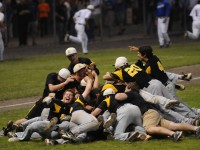 Amity High School beat Southington High School in the CIAC Class LL Baseball Championship in a game played at Palmer Field in Middletown by a score of 4 to 0. After the final pitch, the team piled on winning pitcher Michael Concato who pitched a complete game two hitter.