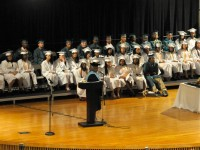 Seniors in the Hartford Culinary Arts Academy begin commencement exercises in the Weaver High School auditorium.