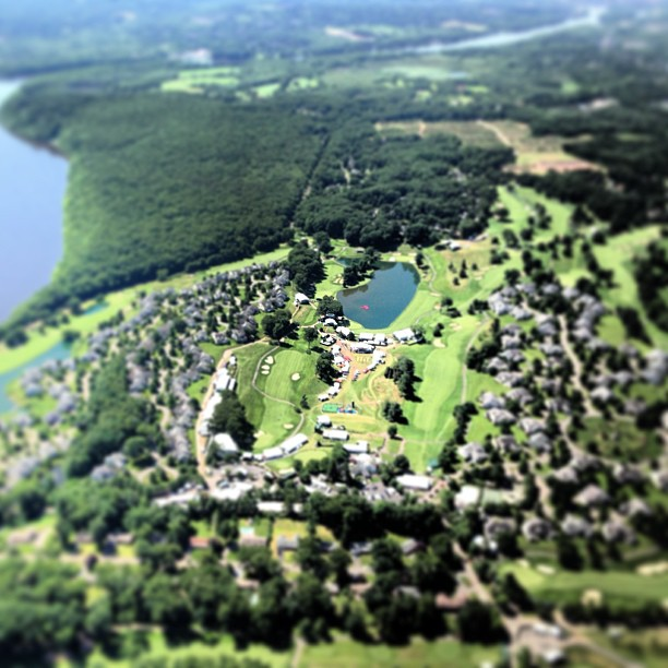 This morning I am photographing aboard the MetLife blimp from 1,500 feet above the Travelers Golf Tournament in Cromwell.