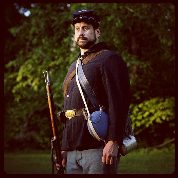 William Hincks dresses in Civil War uniform like his great great grandfather William Hincks who fought at Gettysburg.