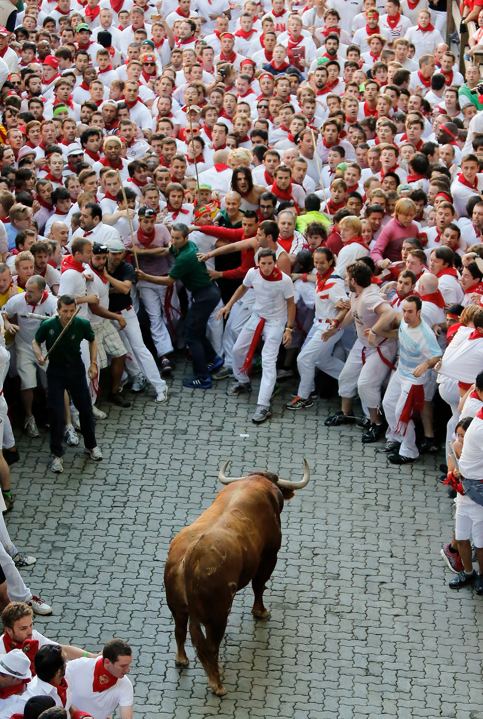 A bull stands alone, surrounded by a crowd of runners, on the way to entering the bullring during the second day of the San Fermin Running Of The Bulls festival, July 7, 2013, in Pamplona, Spain. The annual Fiesta de San Fermin, made famous by the 1926 novel of US writer Ernest Hemmingway 'The Sun Also Rises', involves the running of the bulls through the historic heart of Pamplona, It runs for nine days, from July 6-14. (Photo by Pablo Blazquez Dominguez/Getty Images)