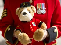A Chelsea pensioner holds a stuffed bear that will be a gift to the baby Prince. REUTERS/Neil Hall