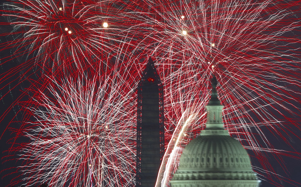 Independence Day fireworks are seen over the US Capitol and National Monument in Washington, DC on July 4, 2013. AFP Photo/Paul J. Richards/AFP/Getty Images
